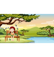 Mosquitos bitting little girl in the park vector image vector image