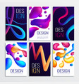 neon fluid cards set vector image