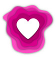 paper cut heart on white background vector image vector image