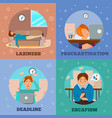 procrastination characters cartoon concept icons vector image vector image
