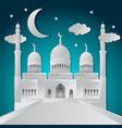 ramadan kareem greeting card with paper cut vector image vector image