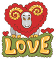 sheep from heart vector image vector image