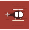 single helicopter icon on red background vector image vector image