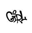 sprayed girl font graffiti with overspray in black vector image vector image
