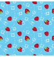 Strawberry and ice cubes blue seamless pattern vector image vector image