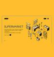 supermarket isometric landing empty store interior vector image vector image