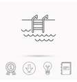 Swimming pool icon Waves and stairs sign vector image vector image