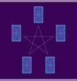 tarot cards spread with pentagram reverse side vector image vector image