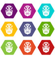 tribal mask icon set color hexahedron vector image vector image