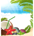 Tropical background with palm trees and coconut vector image vector image