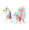 unicorns cartoon animals rainbow stars adorable vector image vector image