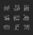 urban structure chalk white icons set on black vector image