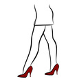 Woman in red shoes vector image