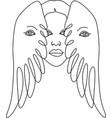woman line drawing line art flower head image logo vector image