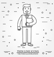 Businessman with folder thin line icon For web vector image