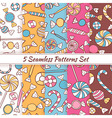 Sketch Doodle Candies Sweets Seamless Patterns Set vector image