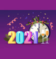 2021 new year greeting card with number chiming vector image vector image