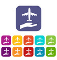 airplane and palm icons set vector image vector image
