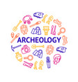 archaeology signs thin line round design template vector image vector image