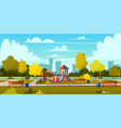 background of cartoon playground in park vector image vector image