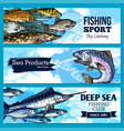banners of fishing club or sea fish product vector image vector image
