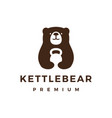 bear gym kettlebell fitness logo icon vector image