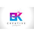 bk b k letter logo with shattered broken blue vector image vector image