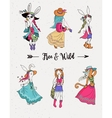 Bohemian fashion girls boho bunny and cats vector image vector image