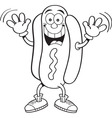 Cartoon hotdog waving vector image vector image