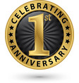 celebrating 1st anniversary gold label vector image