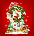christmas holiday banner with santa and reindeer vector image vector image