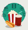 cinema food with set cinema icons vector image