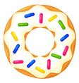 colorful cartoon donut with sprinkles top view vector image vector image