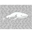Coloring page with whale in the floral sea vector image