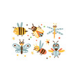 cute insects set bee colorado potato beetle vector image vector image