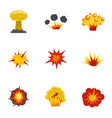 explosion effect icons set flat style vector image vector image