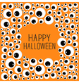 Eyes frame Halloween card Spooky orange background vector image