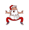 fat santa claus doing sport exercise physical vector image vector image