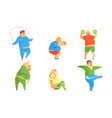 funny fat men exercising in gym set chubby vector image