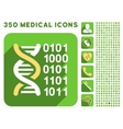 Genome Code Icon and Medical Longshadow Icon Set vector image vector image