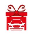 gift box car ribbon shape heart vector image