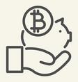 hand holding bitcoin piggy bank line icon piggy vector image
