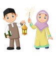 happy muslim kids with quran book and lantern vector image vector image