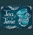 invitation to tea party retro tea time with vector image vector image