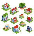 isometric town houses collection vector image vector image