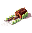 isometric tram depot building vector image vector image