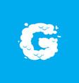 letter g cloud font symbol white alphabet sign on vector image vector image