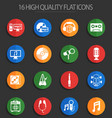 music 16 flat icons vector image