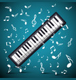 music background with notes and keyboard vector image
