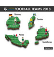 national soccer teams 2018 group f vector image